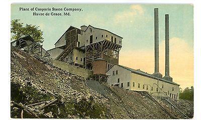 Havre De Grace MD -CASPARIS STONE QUARRY/CRUSHER- Postcard Maryland