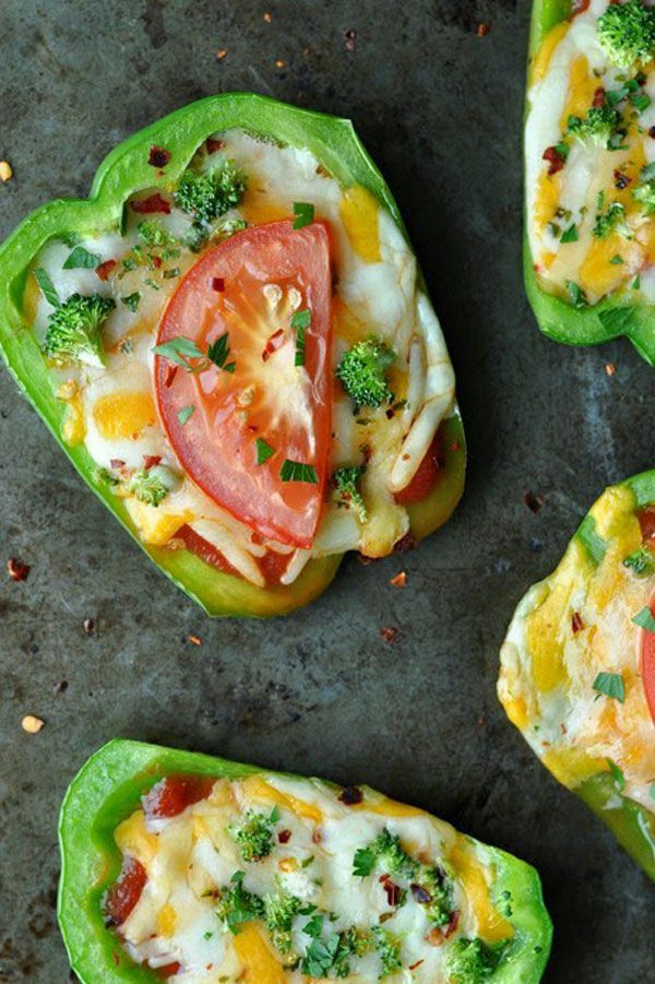 8 Healthy Snacks That Are (Almost) Too Good To Be True #refinery29  http://www.boutiques.refinery29.com/healthy-snack-ideas#slide-9  Bell Pepper PizzasThese mini bell pepper pizzas are the perfect snack, but you could totally turn them into a full-on meal....