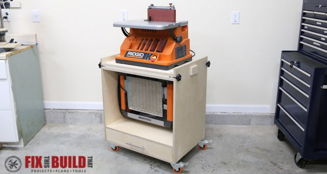 Learn how to build a Flip Top Tool Stand for your workshop! Use this cart for a planer and miter saw, sander and router, etc. and free up your workbench.