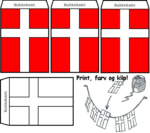 """❤❤❤ Danish flags are often strung around the Christmas tree. You can buy paper flags already made and strung, but this would be a nice holiday craft.The instructions said """"folding edge; and print, color and cut out.""""  ❤ Tak (thanks!) to the blogger for this pattern!"""
