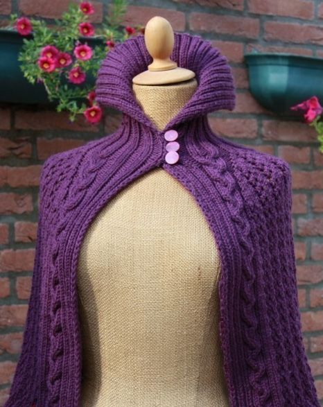 Knitting pattern for Meursault Cape - #ad Cabled capelet with high neck that can…