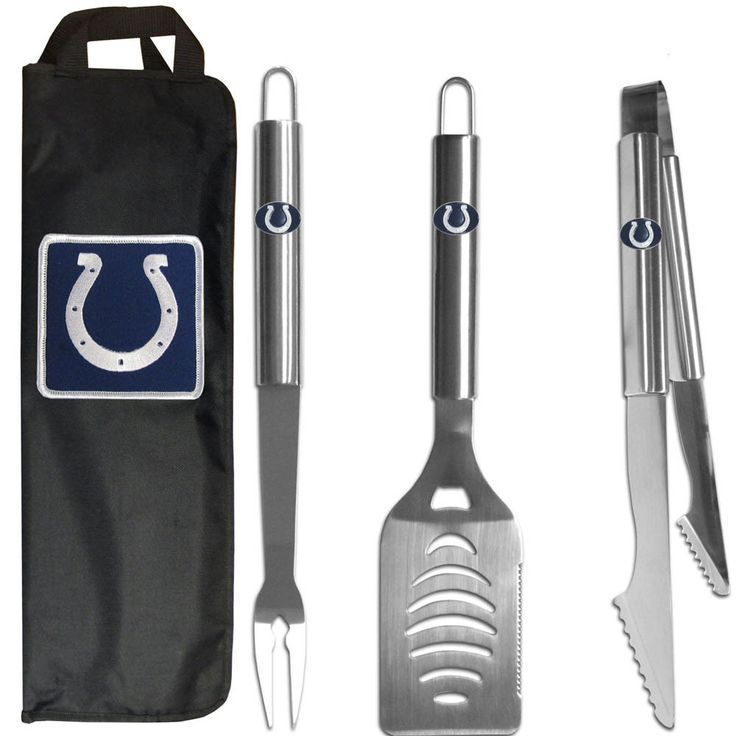 Indianapolis Colts 3 Pc Stainless Steel BBQ Set With Bag
