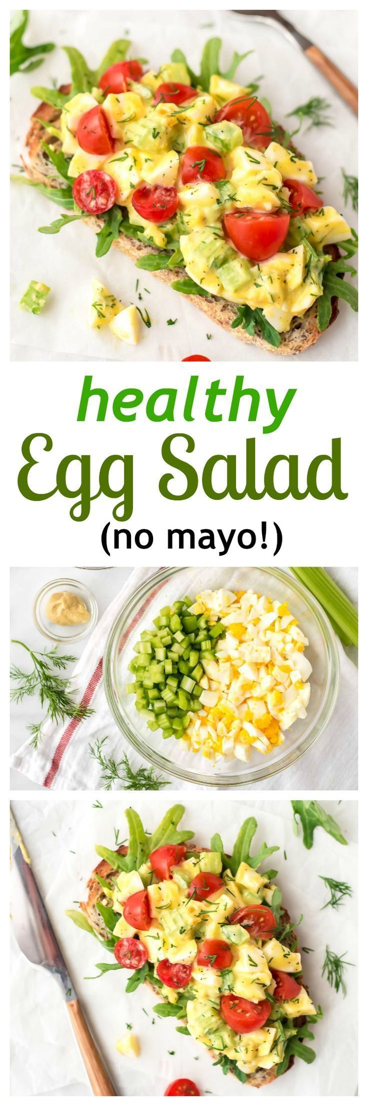 Healthy Egg Salad (mayo-free) — Cool, creamy, and delicious egg salad with crunchy celery, fresh dill, and Greek yogurt. Great for sandwiches for an easy lunch or dinner! Get the recipe at http://wellplated.com /wellplated/