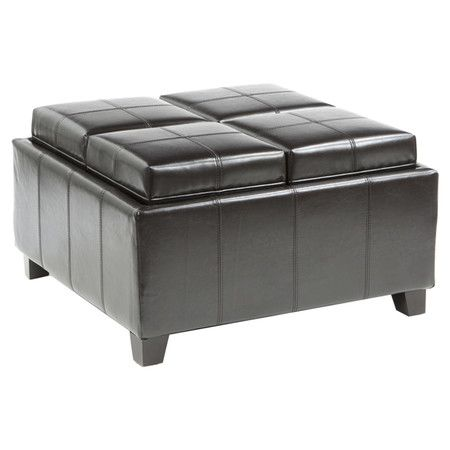 Dartmouth Storage Ottoman In Black: Storage Ottoman Darkly Stained Frame  Lids That Double As Wood Lined Serving Trays 4 Small Storage Spaces On Top  And 4 ...