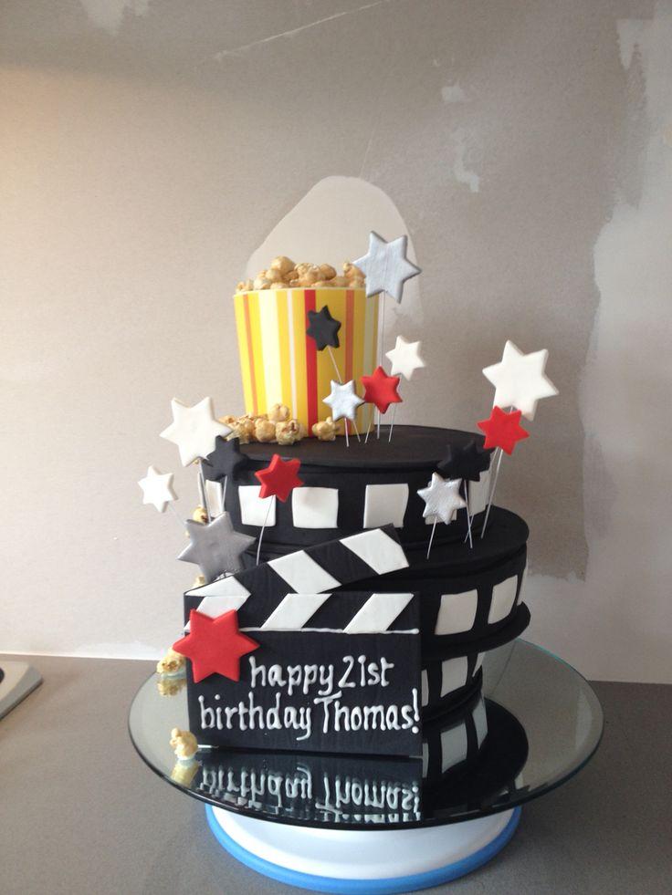 Film Reel Birthday Cake - 3 tier chocolate mud with chocolate ganache. Happy Birthday Thomas! August 2014
