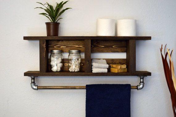 Rustic Modern Bathroom 2 Tier Bath Shelf His by RusticModernDecor