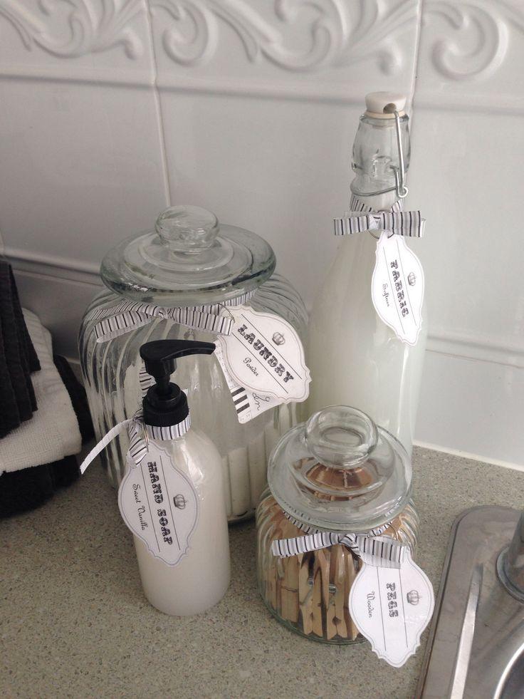 Laundry #washing powder jar #peg jar #softener bottle #hand soap #home made vintage style label