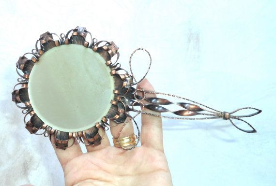 1960s Forged copper Mirror Gift for her handmade by MushkaVintage3