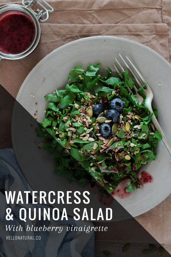 Summery Watercress and Quinoa Salad Recipe with Blueberry Vinaigrette | http://helloglow.co/recipe-summery-watercress-quinoa-salad-blueberry-vinaigrette/