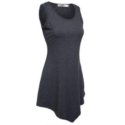 Camiseta Asimética para Mujer-Gris oscuro