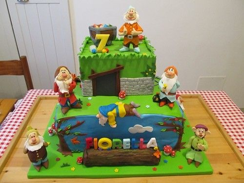 #Cakedesign :  #Torta i #7 #nani in #pdz #pastadizucchero con #mammolo # gongolo #pisolo #cucciolo #eolo #brontolo e #dotto