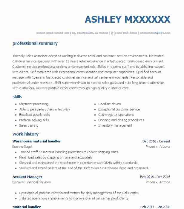 Material Handler Resume Sample Resume Templates Resume Resume Design Template