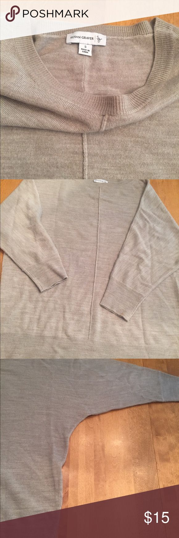 Susan Graver Plush Knit Sweater Sz S Susan Graver Plush Knit (feels like cashmere) bateau neck dolman sleeve sweater in heathered oatmeal. Size small. Worn just a few times, in excellent condition. Bought on QVC for $50. Very soft and comfy. Looks great over leggings or skinny jeans. Susan Graver Sweaters Crew & Scoop Necks