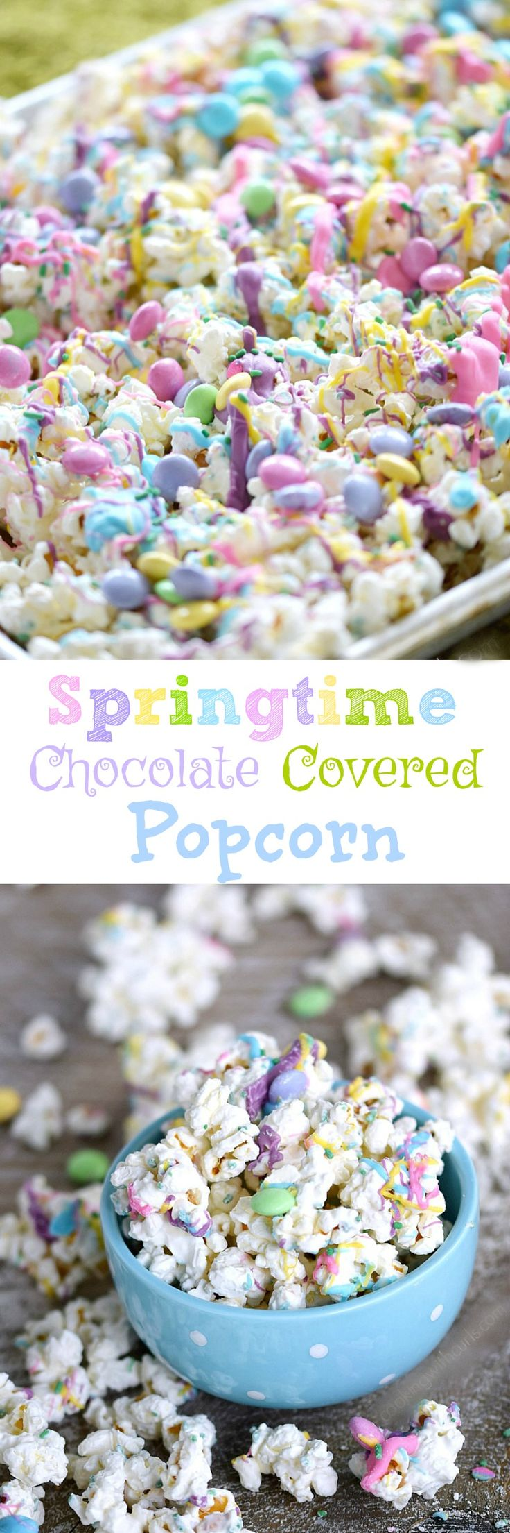 This Springtime Chocolate Covered Popcorn is sweet and delicious covered in pastel colored chocolates, sprinkles, and candies | cookingwithcurls.com