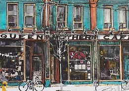 Illustration of The Queen Mother Cafe, Queen Street W. Toronto, by Artist Christine Audit