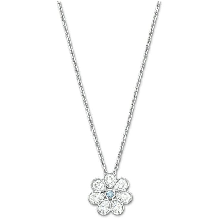swarovski astrid clear aqua crystal flower pendant 5055515