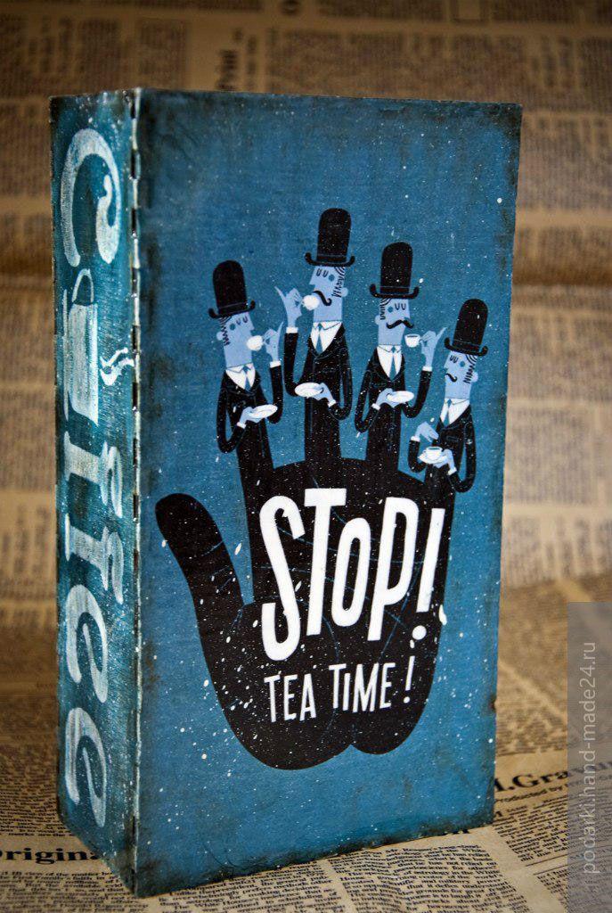Короб для хранения чайных пакетиков, шкатулка для чая в стиле декупаж, портал Hand-Made24.ru