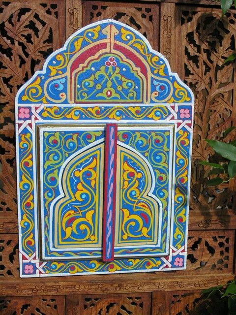 Moroccan hand painted mirror with doors in blue. http://www.maroque.co.uk/showitem.aspx?id=ENT06479&s=10-20-102