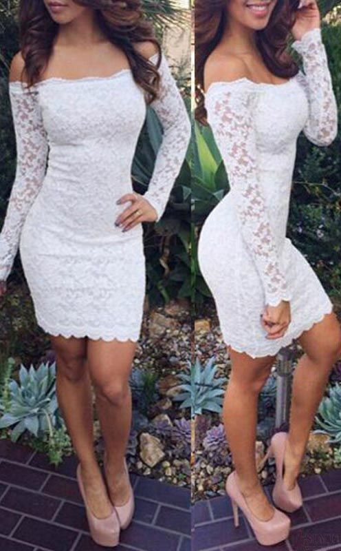White Homecoming Dresses,Lace Homecoming Dress, Off Shoulder Homecoming Dress, Long Sleeve Homecoming Dress, Short Homecoming Dresses, Dress For Prom,Short Prom Dress, Cheap Homecoming Dress, Juniors Homecoming Dress,Prom Dresses
