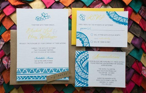 Custom Samoan Inspired Wedding Invitation by paperdollsdesigninc, $7.25 #weddinginvitation #paperdollsdesign #custom