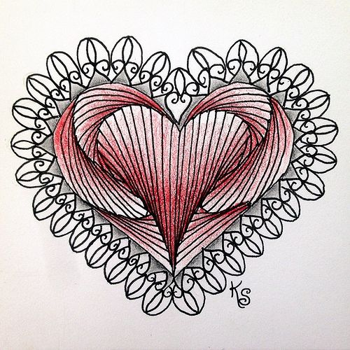#zentangle 2015-045, my first #divachallenge tile (no. 204, a #valentangle). My friend also threw down the gauntlet for me to use paradox in a heart and this was the result. I used #prismacolorpencils for the coloring. | Flickr - Photo Sharing!
