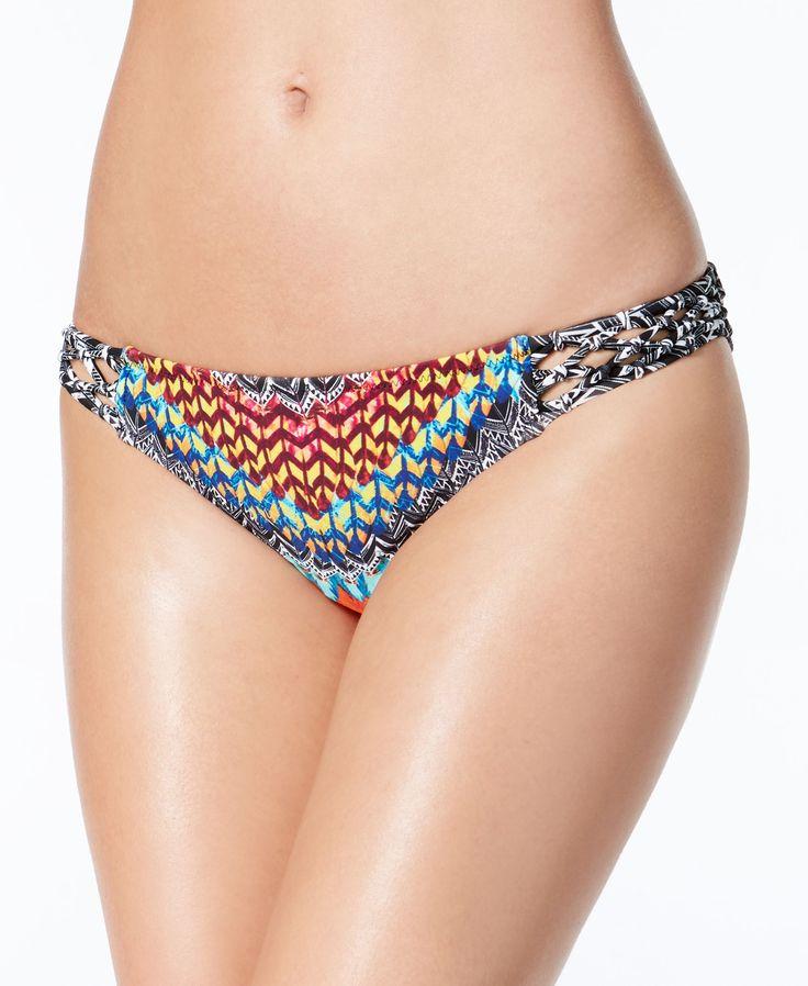 Jessica Simpson Dakota Printed Macrame-Trim Hipster Bikini Bottoms