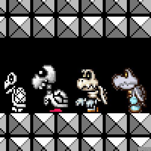 Dry Bones EvolutionbyBrother Brain★Super Mario Bros. 3 (NES) Nintendo 1988.Super Mario World (SNES) Nintendo 1990. Super Princess Peach (NDS) Nintendo 2005.Mario & Luigi: Partners in Time (NDS) Nintendo 2005.