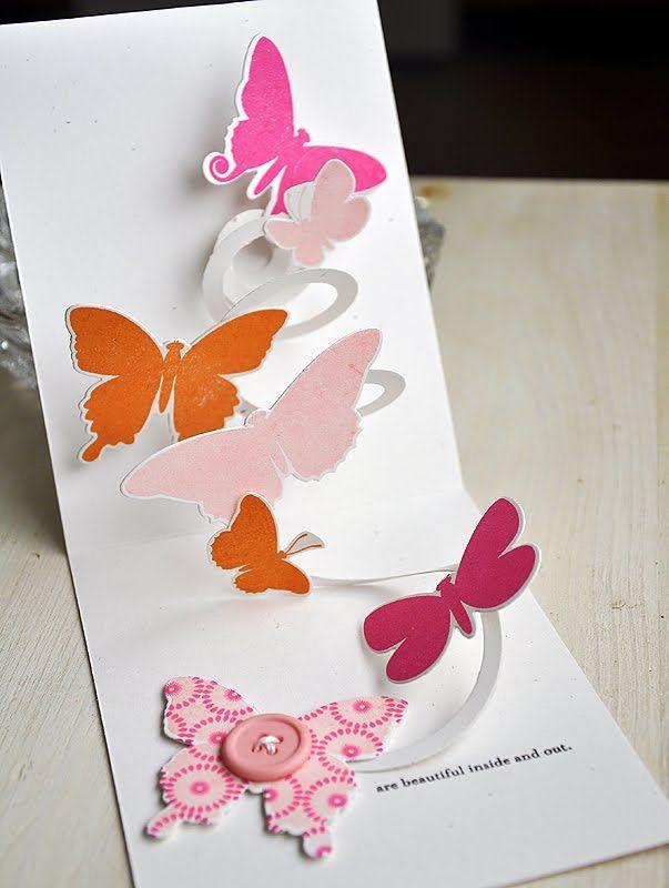 Открытка с вылетающими бабочками своими руками, днем рождения женщине