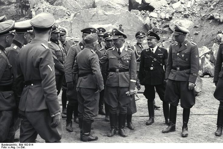 Wilhelm Bittrich (far right) at the quarry at Mauthausen-Gusen concentration camp during tour with Heinrich Himmler (center) and other SS officers, June 1941.