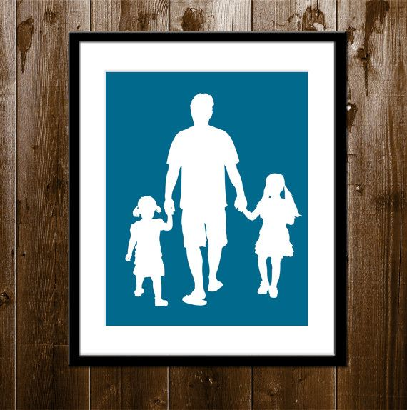 Ever since my #daughters were born, every day has been a happy father's day! Father/Daughters Custom Silhouette Portrait From Your Photo on etsy