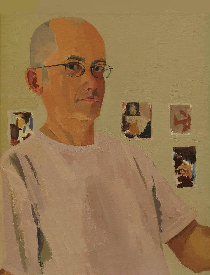 Self Portrait No 3. Oil on Canvas. 53.5cm x 42cm, framed. In private collection, USA.  Selected for the inaugural exhibition of the DAVY Portrait Awards in Belfast and Dublin, 2008. The painting is really about looking, about how when you look intently at someone or something, everything else seems to go out of focus. The other important aspect is trying to keep faithful to the process of painting, while slowly tightening the definition of the image. I placed the postcards behind me on the…