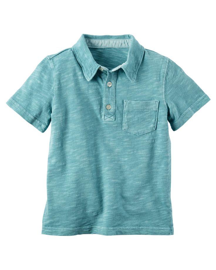 Baby Boy Garment-Dyed Slub Jersey Polo   Carters.com