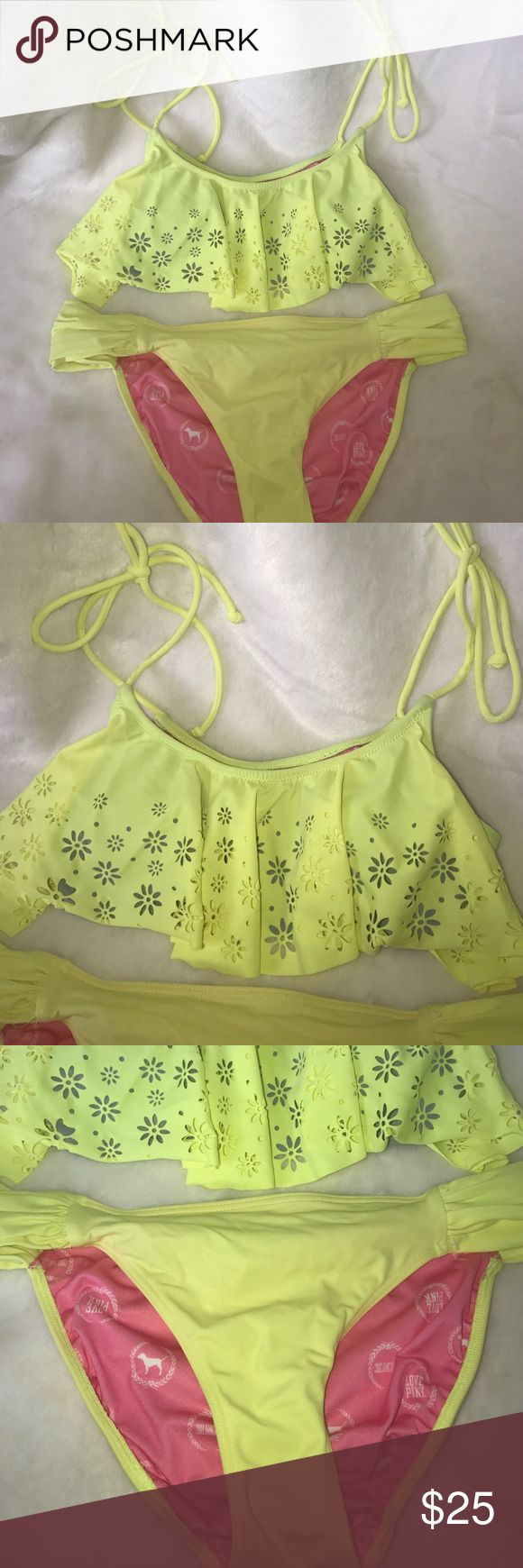 Yellow flouncy PINK bikini Super cute highlighter yellow laser cut out flounce bikini. Top has some removable padding, size XS, in great used condition, the bottoms are a size S, in good used condition, does have some pilling on the back, tried to take a picture. PINK Victoria's Secret Swim Bikinis