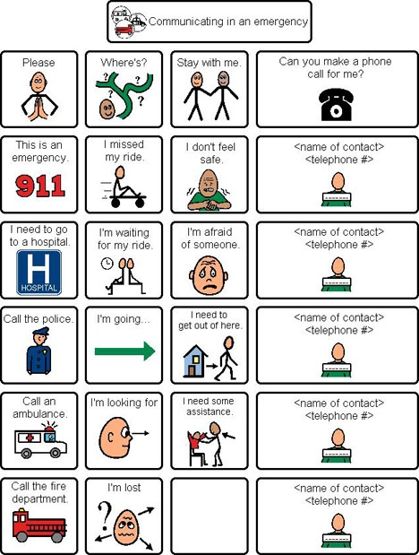 AAC - Safety - Emergencies - By Communication Disabilities Access Canada (CDAC)---- original no longer exists, find it instead here- http://www.cdacanada.com/crimes/wp-content/uploads/2014/02/communicating_in_an_emerg.pdf-8.pdf
