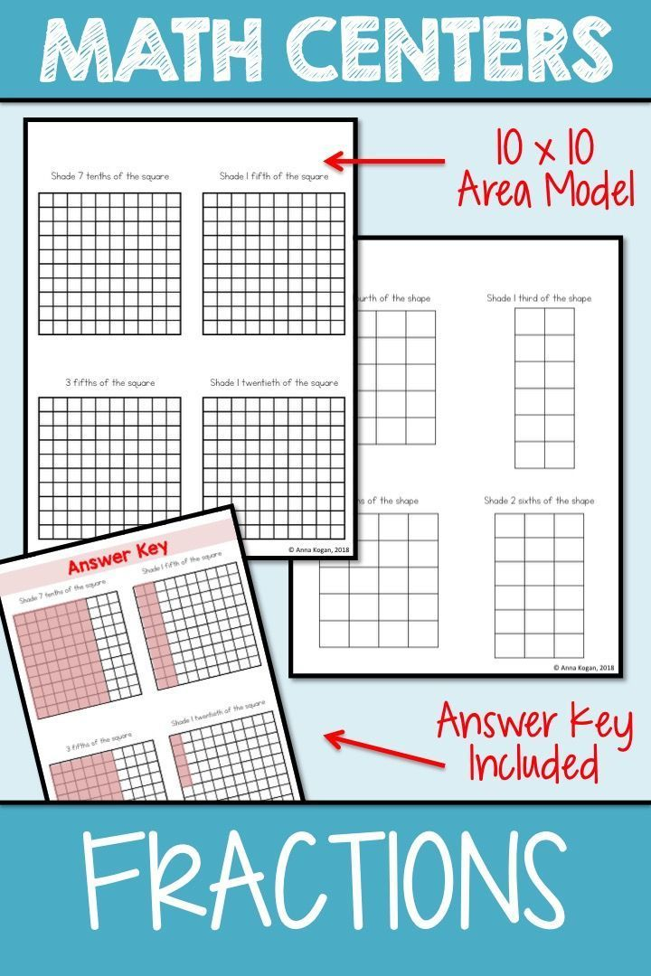 Math Center Fraction Area Model Engage Your Students With This Hands On Fraction Activity Designed To Supplement Fractions Fraction Activities Area Models