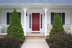 white house, blue shutters, red door <3   For the Home   Pinterest