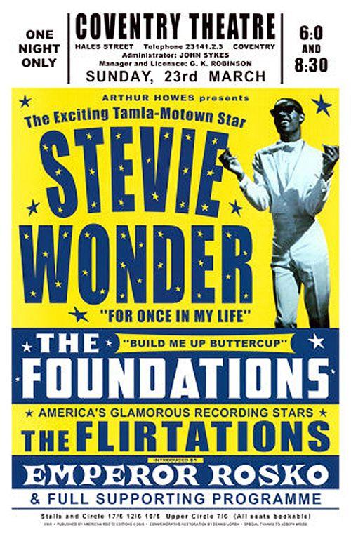 Classic Soul Concert Poster — Stevie Wonder, The Foundations, The Flirtations