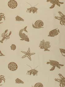 Sea shell/nautical upholstery fabric...I saw this in a shop with gold rope trimmed edges...beautiful!