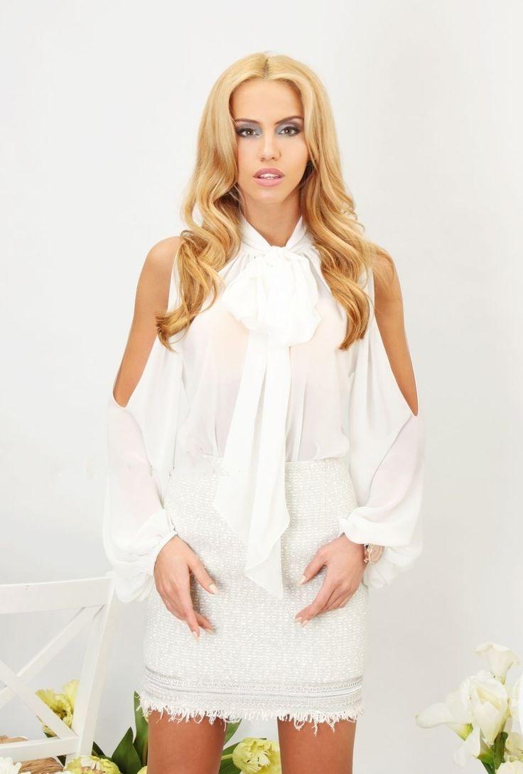 White Chiffon Silk Bodysuit - Baronesa Fashion House