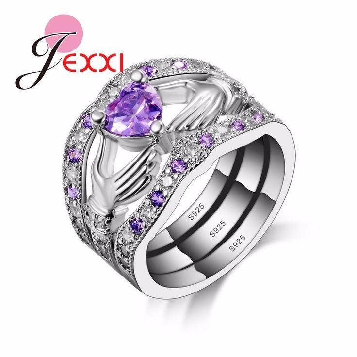 Bague Coeur Violet en Argent Sterling 925 3 anneaux