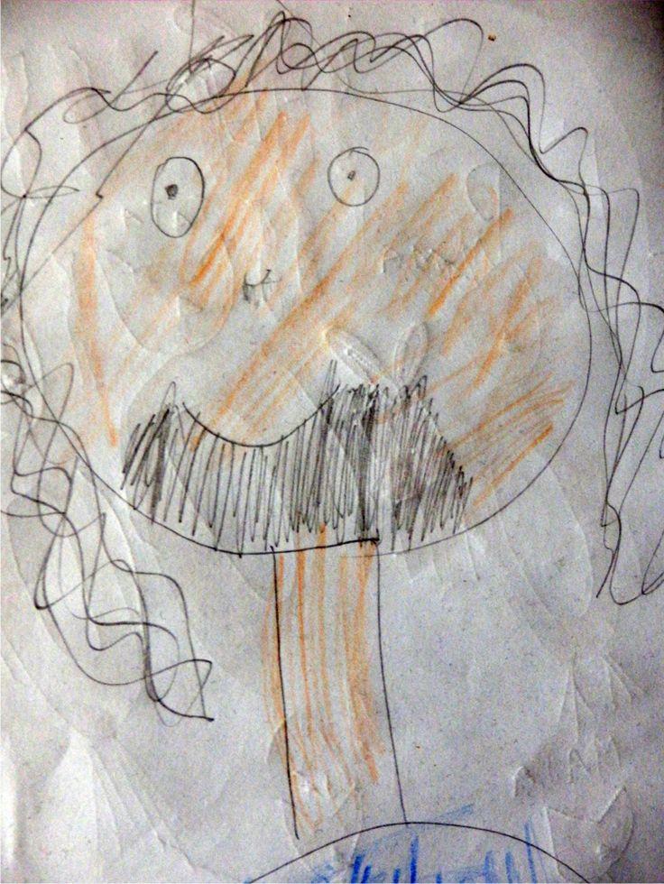Bětka kreslila tátovi přání k narozeninám. Táta v jejím podání.