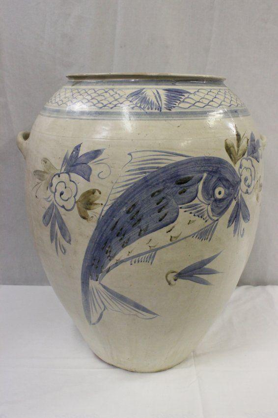 A large Korean vintage blue and white jar