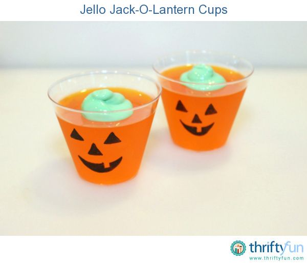 These jack-o-lantern Jello cups are easy to make and perfect for a Halloween party!