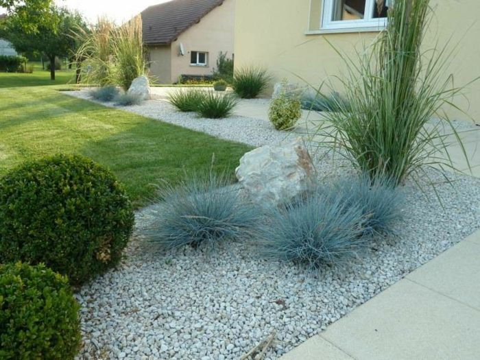 jardin paysager, paysager son jardin avec gravier et pierres                                                                                                                                                                                 Plus #Jardinzen