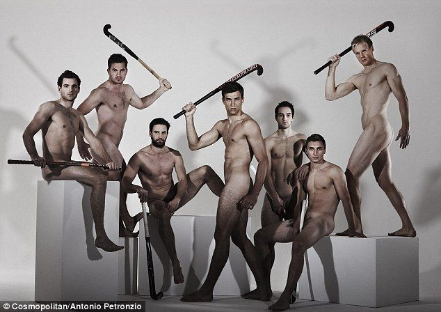 Hockey totty: Some of the Great Britain hockey team posed for Cosmopolitan magazine with just their sticks