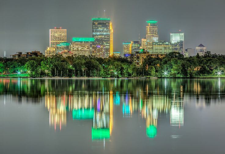To celebrate the 150th birthday of the Star Tribune newspaper, multiple Minneapolis landmarks were lit green on the evening of May 25th, 2017.