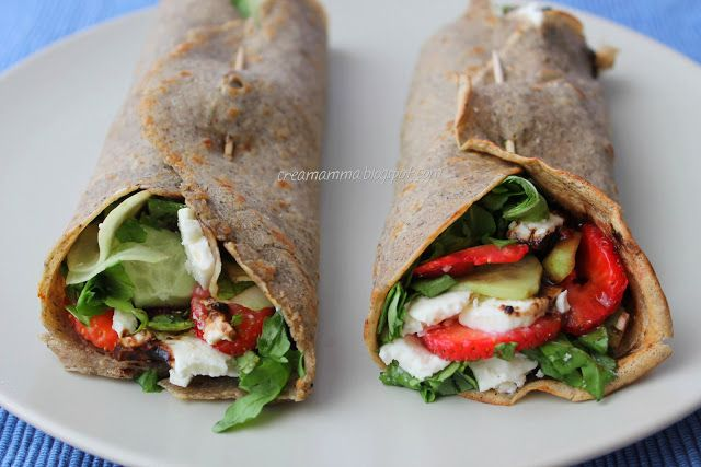 Buckwheat crepe with strawberries, feta, rocket, cucumber and balsamic vinegar