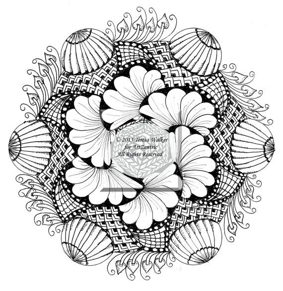 Intricate Colouring Sheet Zen Doodle Instant By ArtZentric On Etsy