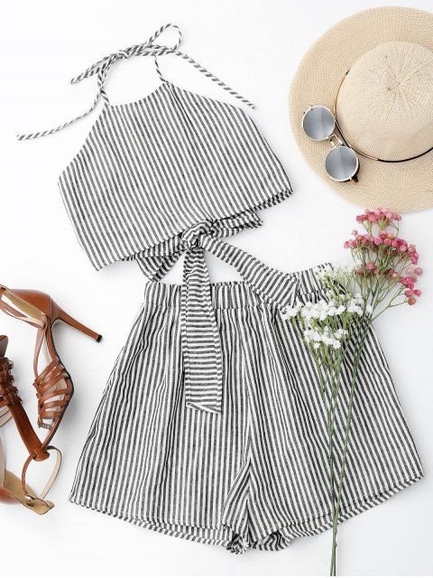 Halter Striped Two Piece Suit - STRIPE XL