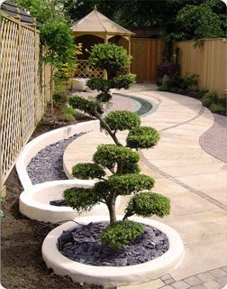 Simple garden design - Japanese zen. I quite like the idea of a trough of stones as a drainage solution too.
